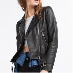 ZARA LEATHER MOTO JACKET S